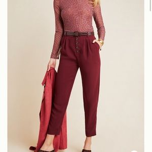 Anthropologie Wine Button-Fly Tapered Trousers